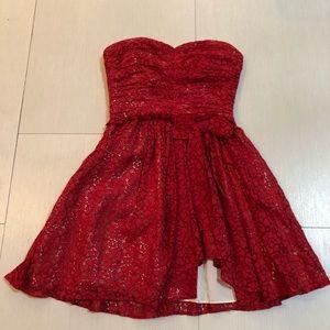 Red lace strapless cocktail mini dress Jill Stuart